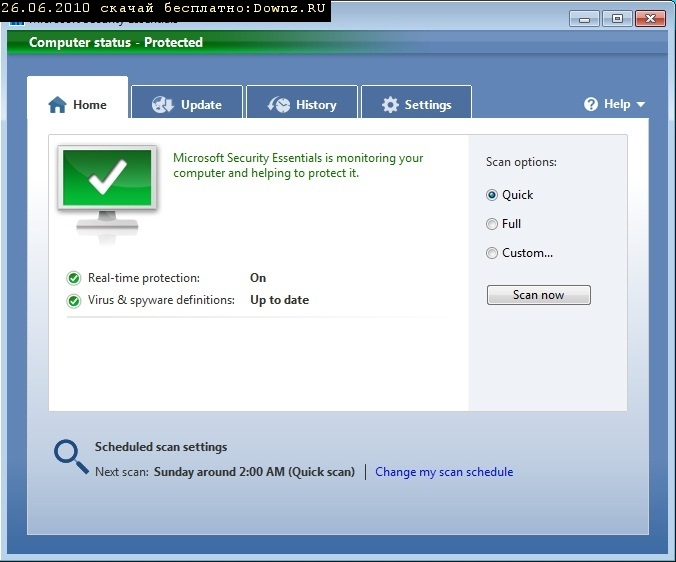 ��������� ������� Microsoft Security Essentials ���������� ��������� �� ����������